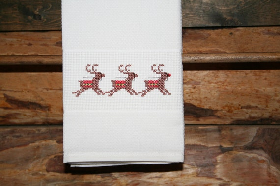 Christmas Huck Towel with Cross Stitched Reindeers.
