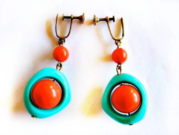 1950s Amoeba Earrings- Mid Century Modern Orange and Aqua Srewbacks