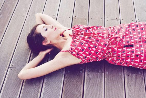 SUPER SALE - 40% off - Julie summer dress - cotton dress in coral red with little sailboats print w/ belt