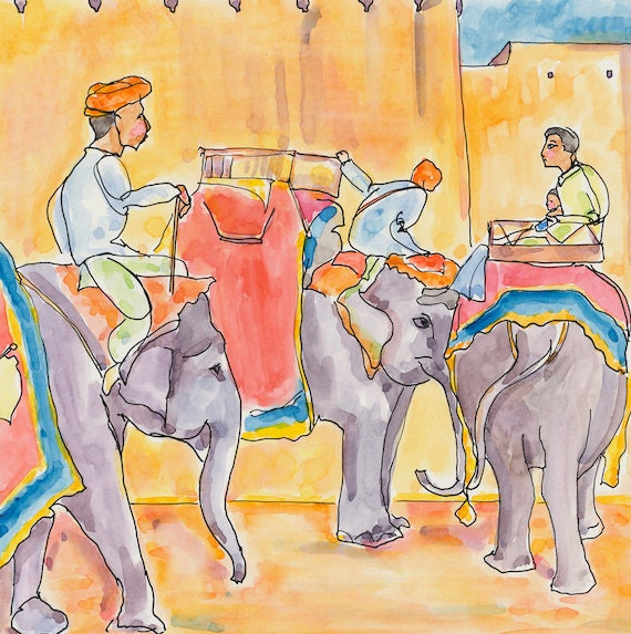 Painting of Elephants - Small Art - Elephant Illustration- Home Decor - Original Art - Square Painting- Small Artwork - Rajasthan, India.