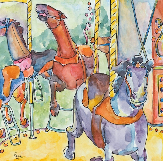 Carousel horses - Theme park - Painting - Illustration - Watercolor - Ink illustrations