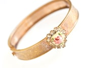 Baby or little girl's Victorian gold enamel and rhinestone bracelet