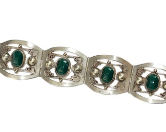Vintage Mexican sterling silver filligree panel bracelet with green onyx