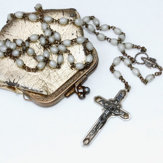 Vintage/Antique necklace Rosary with Virgin Mary in gold leather-like kisslock pouch, made in Italy