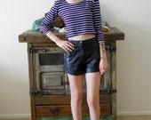SALE// 90's Purple and Black Striped Cropped Midriff Shirt -XS,S,M grunge punk