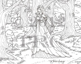 The Forest's Awakening - printable PDF coloring page by Tia Christopher