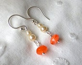 Kathryn S. - Dainty double pearl and tangerine crystal drop earrings