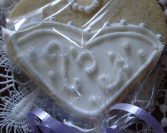Wedding, Shower Bride Decorated Sugar Cookies - 1 Dozen