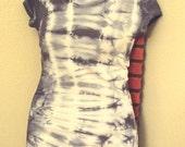 Custom tie dye Tunic length stretch cotton scoop neck Tshirts w/spandex