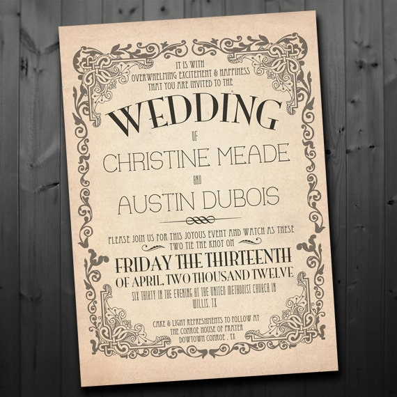 Printable Vintage Wedding Invitation By FancyBeastDesigns On Etsy