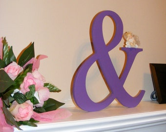 """18"""" Wooden Ampersand Sign PAINTED Photography-DIY-Wedding Decor-Engagement-Wooden Alphabet Letters- Photo prop '&'sign- Birthday- Decor"""