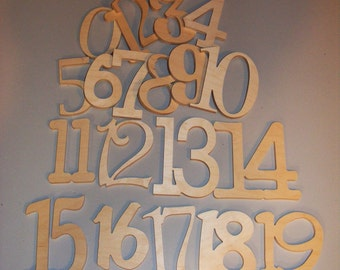 Unfinished  Wooden Table Numbers - ABC Wall Hanging - Wedding- Decor-DIY- Table numbers
