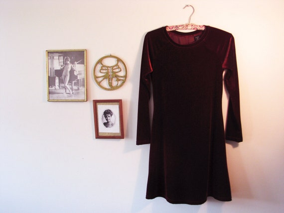 90s Violet Velvet Babydoll Dress