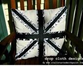 Union Jack Black and White Pillow