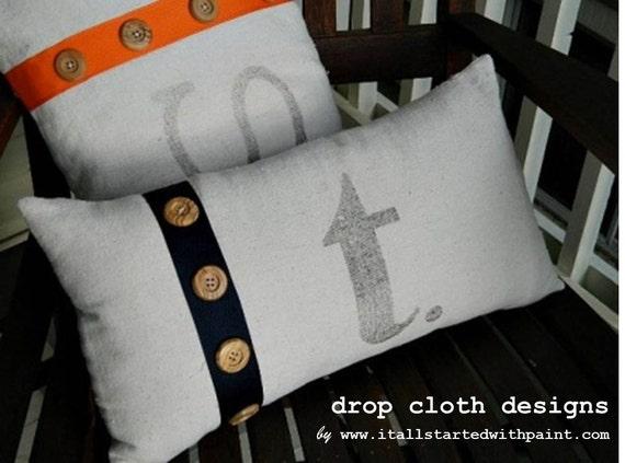 Monogrammed Ribbon & Button Drop Cloth Pillow