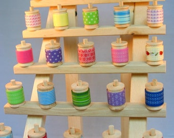 Deluxe Tower of Washi Tape Assortment and Stand -  35 Yards of your choice (105 feet) plus wood rack