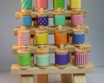 Mini Tower of Washi Tape Assortment and Stand -  16 Yards of your choice (48 feet) plus wood rack