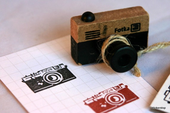 Vintage Look Wooden 35mm Camera  Stamp from Japan - FOTKA version...project life