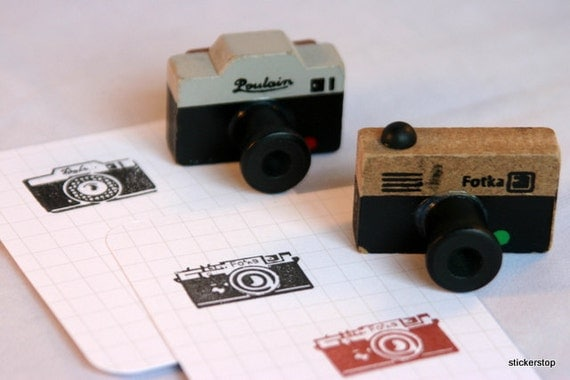 Set of TWO Vintage Look Wooden 35mm Camera  Stamps from Japan - FOTKA and PULAIN version...project life