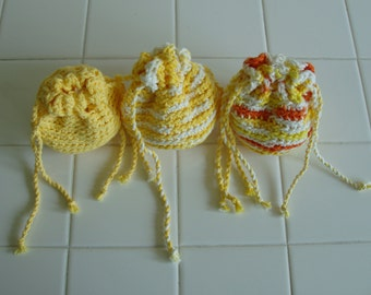 Citrus Orchard, Set of three drawstring bags, Cotton, Crocheted, Drawstring, Bags