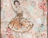 "Ballerina Efface,  8x10"" Print of original mixed media art"