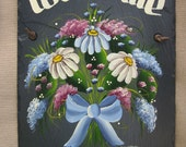 Handpainted Personalized Daisy Floral Slate Welcome Sign Blue