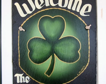 Handpainted Personalized Irish Shamrock Slate Welcome Sign