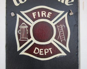 Handpainted Personalized Fire Department  Slate Welcome Sign