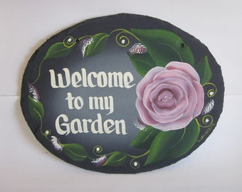 Handpainted Personalized Rose Garden Slate Welcome Sign