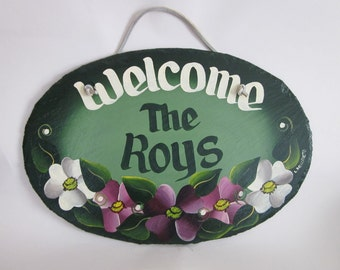 Handpainted Personalized Oval Floral Slate Welcome Sign
