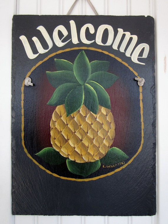 Handpainted Personalized Country Pineapple Slate Welcome Sign