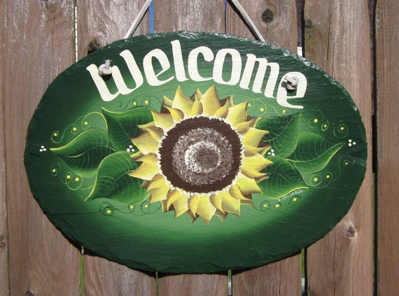 Handpainted Personalized Sunflower Slate Welcome Sign