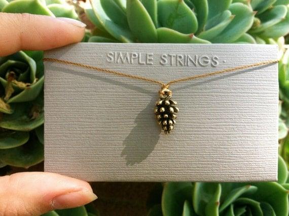 Teeny Tiny Pinecone String Necklace