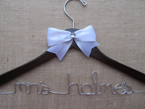 Custom Bridal Hanger, Wedding Gown Hanger, Hanger with Name, Hanger with Bow