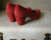 Vintage Flamenco Shoes Bright Red Suede Dance Size 7