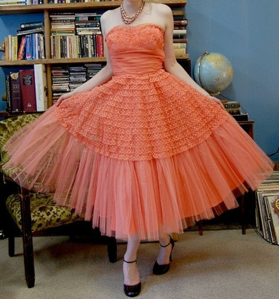 RESERVED FOR CRYSTAL 1950's Party Dress Lace & Tulle Coral Pink Strapless