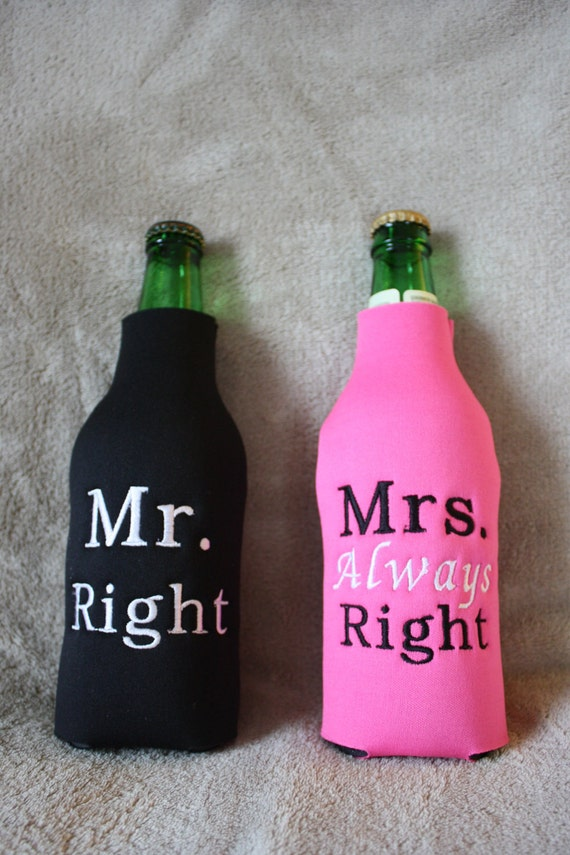 Mrs Always Right Collection Review: Mr. Right And Mrs. Always Right Wedding Bottle Koozie Set