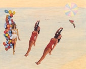 12 x 8, A4 Beach Babes - Summer day at the beach with cat fine art print of original collage watercolour mixed media painting on wood.