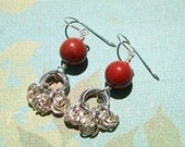 Red Jasper stones, silver plated mobius rings, chain maille earrings