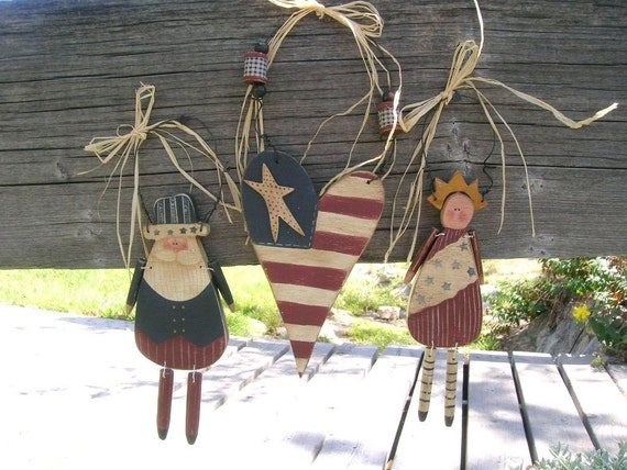 Wood Unlce Sam Miss Liberty Patriotic Heart Wall Hangings