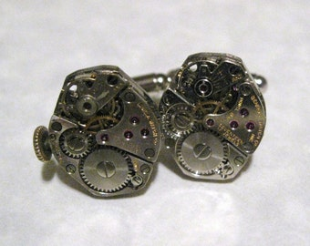 Jeweled Steampunk Watch Movement Cufflinks