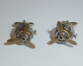 Propeller  Jeweled Watch Movement Steampunk Cufflinks