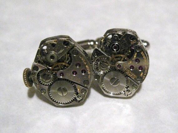 Jeweled Steampunk Watch Movement Cufflinks