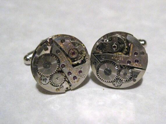 Round Jeweled Steampunk Watch Movement Cufflinks