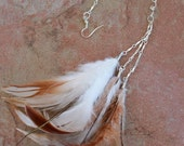 Feather Earring, Long Silver Chain, Rooster Feathers