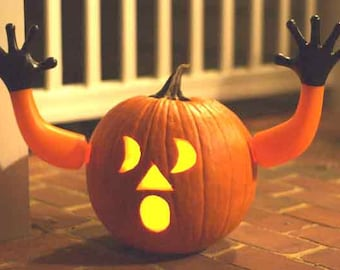 Pumpkin Hands, Halloween Decor, unique and funny, Jack O' Lantern carving, Outdoor Decorations