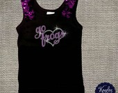 Go Frogs Rhinestone Bling Tank with sparkle ruffle sleeves (Girls, Infant, Toddler)