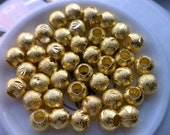 8mm Gold Stardust Spacer Beads BIG HOLE