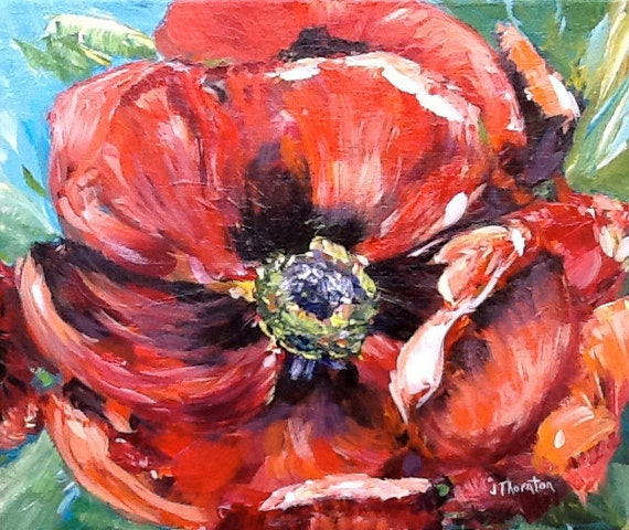 Red, Poppy, painting, painted sides