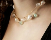 Aqua And Pearl Necklace-M...